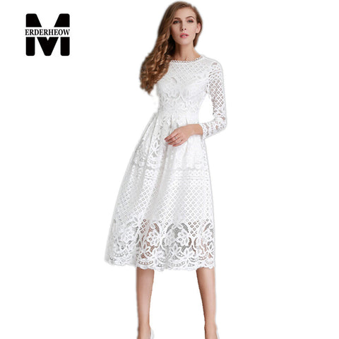 Merderheow New European 2017 Spring Women's Lace Hollow Out Long Dresses Femme Casual Clothing Women Sexy Slim Party Dress L13 - Monika's Dresses