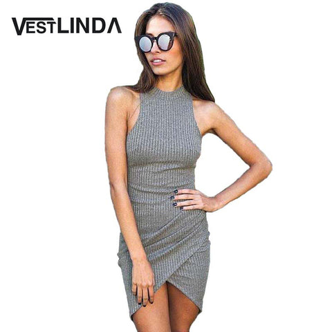 VESTLINDA Summer Sexy Women Knitted Dresses Ladies Sleeveless Wrap Beach Mini Short Dress Bodycon Dress Turtleneck Robe Femme - Monika's Dresses