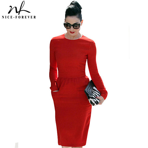 Nice-forever Formal High Waistline Pencil dress Women Elegant Solid Vintage Patch Pocket Sheath long Sleeve Midi Work Dress 456 - Monika's Dresses