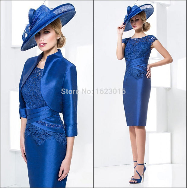 Royal Blue 2017 Mother Of The Bride Dresses Sheath Knee Length Short Evening Dresses Mother Dresses For Wedding With Jacket - Monika's Dresses