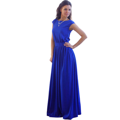 SEBOWEL High Waist Pleated Floor Length Royal Blue Elegant Evening Party Wear Casual Maxi Women Summer Long Dress - Monika's Dresses