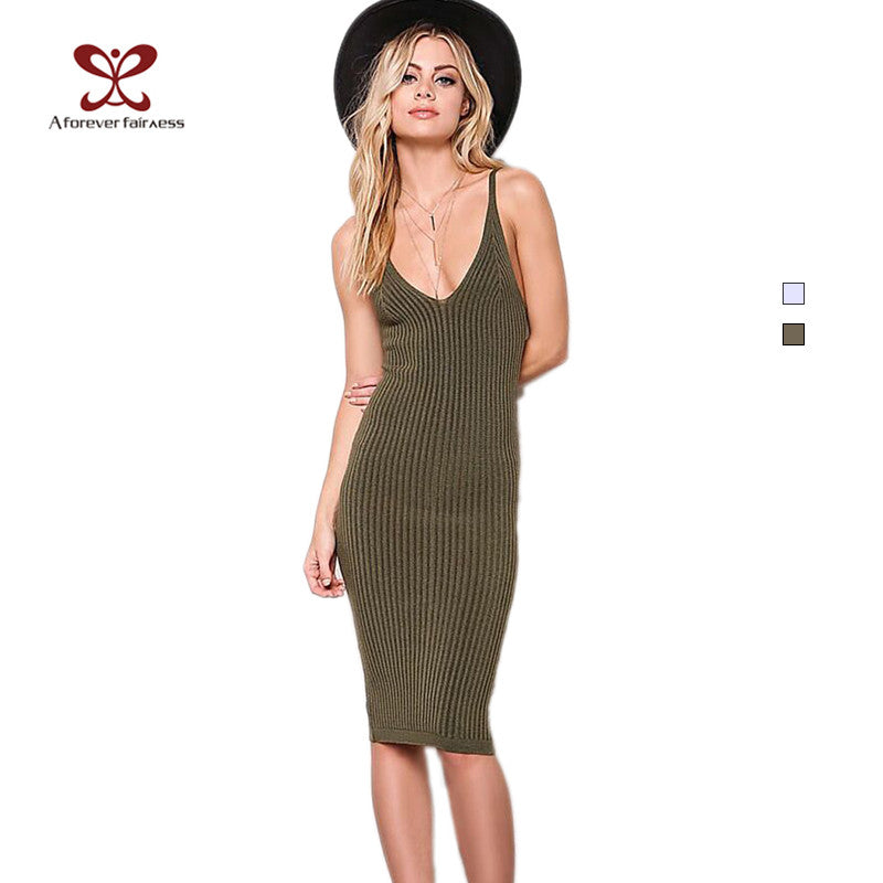 A FOREVER Summer 2017 Plunging V-neck Sexy Spaghetti Strap Dress Army Slim Casual Knitted Dress vestidos Party Dresses NC-1048 - Monika's Dresses