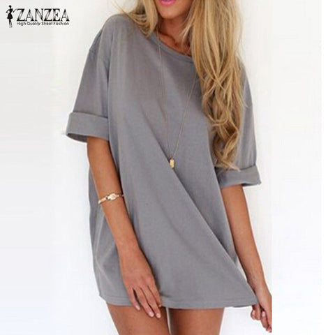 Summer Vestidos 2016 Fashion Women Casual Loose Shirt Dress Sexy Ladies Short Sleeve Solid Mini Dresses Plus Size 3 Colors - Monika's Dresses