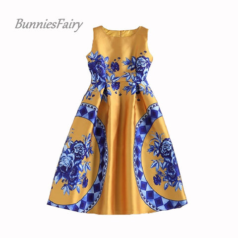 BunniesFairy 2017 Spring Summer New Trendy Ladies Retro Vintage Token Floral Print High Waist A-Line Sleeveless Midi Dress - Monika's Dresses