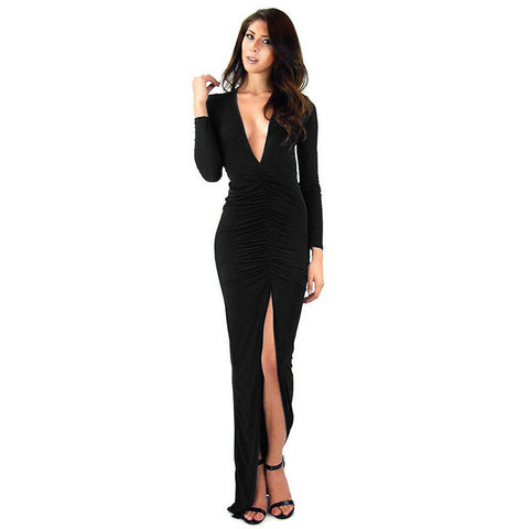 R70137 Ohyeah Deep-V Neckline Maxi Dress Comfortable Dark Blue Black Women Dresses Long Sleeve Side Split Draped Elegant Dress - Monika's Dresses