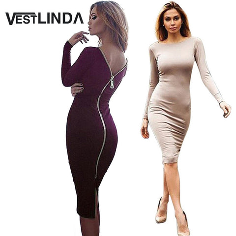 VESTLINDA Plus Size Robe Sexy Femme Midi Sheath Bodycon Dress Long Sleeve Elegant Dresses Women Back Zipper Pencil Tight Dress - Monika's Dresses