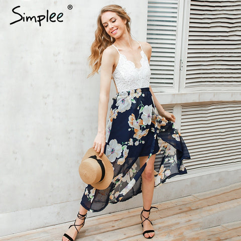 Simplee Sexy print lace summer dress Strap deep v neck high waist beach dresses women 2017 new slit backless long dress - Monika's Dresses