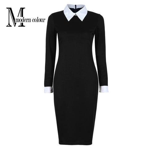 Black Office Dresses Women 2017 Spring New Arrivals Fashion Long Sleeve Pencil Dress Ladies Casual Work Dress With White Collar - Monika's Dresses