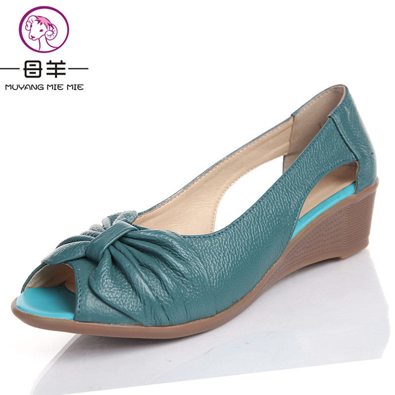 2017 Summer Women Shoes Woman Genuine Leather Platform Sandals Open