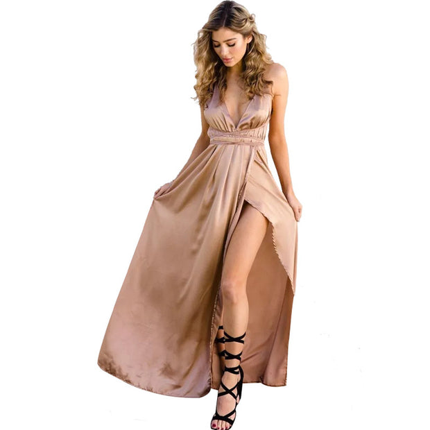 Sexy Strap Satin Backless Women Maxi Dress Slim Deep V Neck Sleeveless Split Bandage Vestidos Summer Beach Party Long Dresses - Monika's Dresses