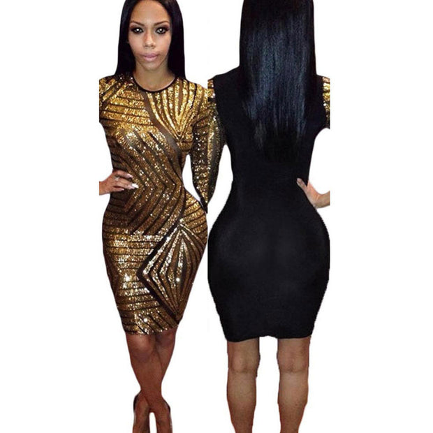 2017 Women Sexy Sequin Dress 3/4 Sleeve Party Club Pencil Dresses O