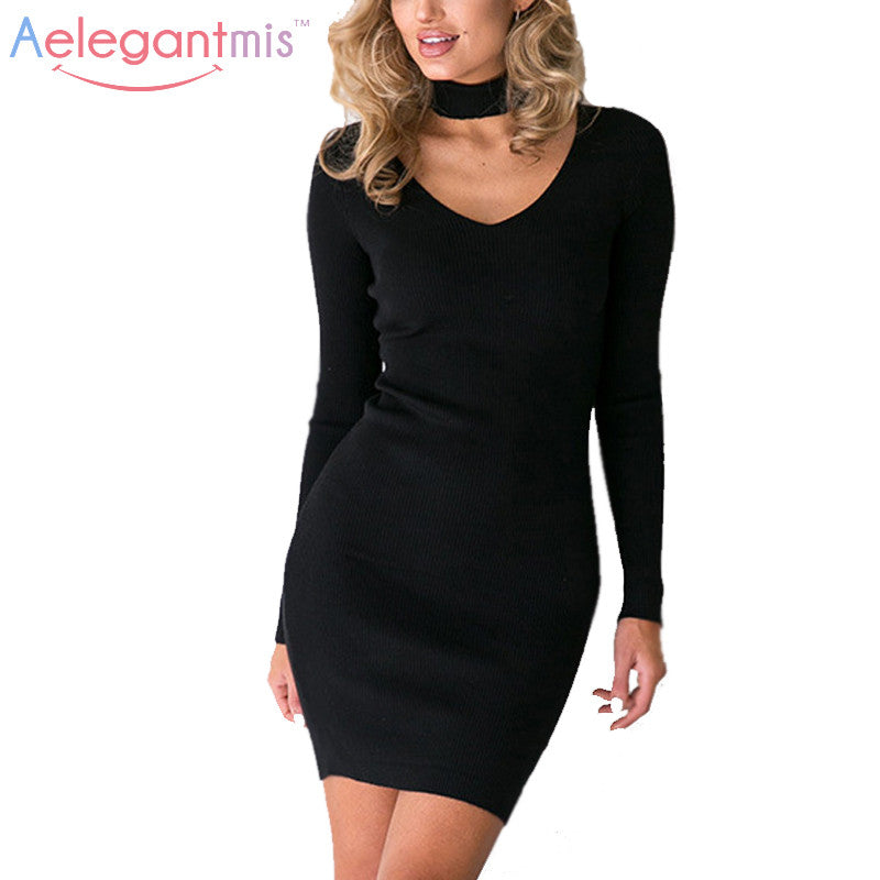 Aelegantmis Autumn Black Sexy V Neck Choker Halter Knitted Dress Women Fashion Long Sleeve Ribbed Bodycon Party Dresses Ladies - Monika's Dresses