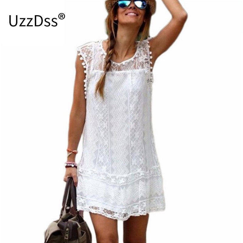 Summer Dress 2016 Women Casual Beach Short Dress Tassel Black White Mini Lace Dress Sexy Party Dresses Vestidos plus size - Monika's Dresses
