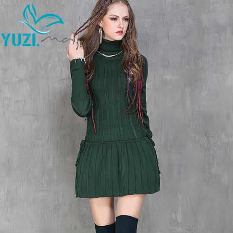 Winter Dress 2017 Yuzi Casual New Cotton Skinny Women Dresses Turtleneck Long Sleeve Pleated Vestido A6065 Vestidos Femininos - Monika's Dresses