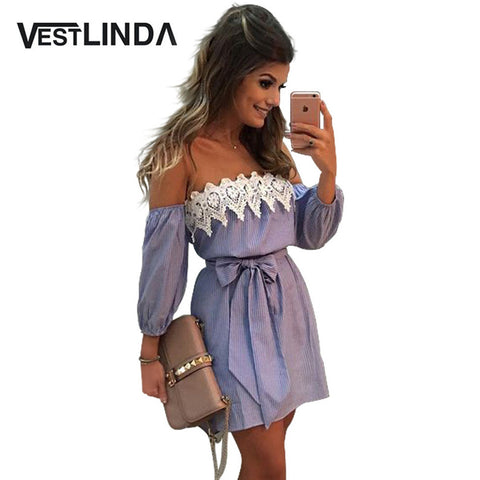 VESTLINDA Off Shoulder Blue Striped White Applique Mini Dress Women Slash Neck Lantern Sleeve Casual Sexy Short Dress With Belt - Monika's Dresses