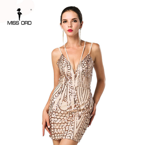 Free Shipping Missord 2017 Sexy  V-neck sleeveless tight retro sequin Dress FT4668