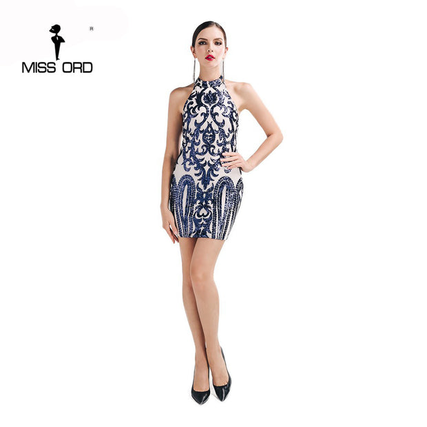 Missord 2017 Sexy O-neck sleeveless Retro pattern sequin dress