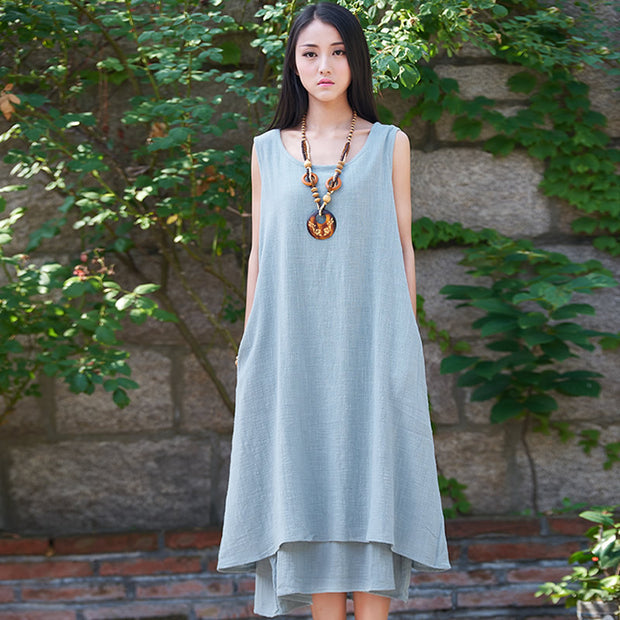Solid Linen Sleeveless Women Dress Original Brand Casual Loose Tank