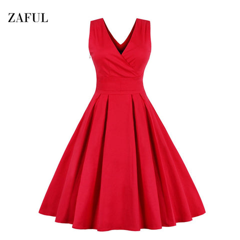 Zaful M-6XL Red Plus Size Vintage Dress Women Summer Autumn Sexy V-neck Sleeveless Elegant Rockabilly Slim Tunic Dress Vestidos - Monika's Dresses