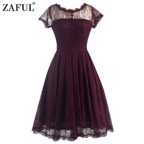 ZAFUL New Women Lace Retro Vintage Pleated Dress Elegant Short Sleeve Gown Big Hem Party Swing Dress Feminino Vestidos - Monika's Dresses