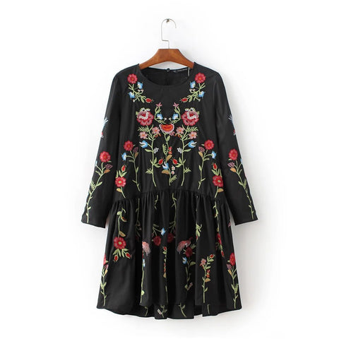JP-120 Europe and the counter quality heavy loose fitting long sleeved dress embroidered flowers - Monika's Dresses