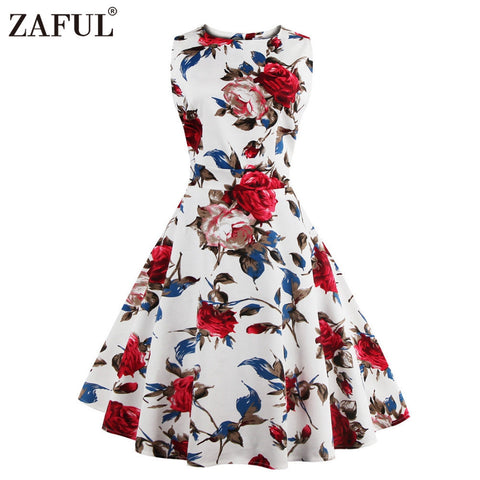 ZAFUL Brand 2017 Vintage Dress Women Robe High Waist Rockabilly Feminino Vestidos Retro sleeveless Party Midi Pleated Dresses - Monika's Dresses