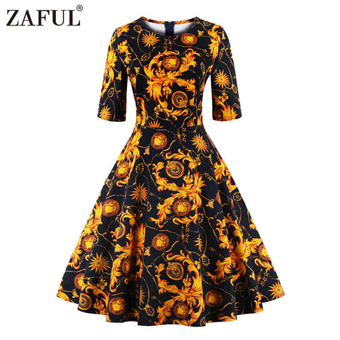 ZAFUL Vintage Women Dress Retro Robe Rockabilly O Neck Half Sleeve Audrey Hepburn 50s Autumn Spring Dresses Plus Size Vestidos