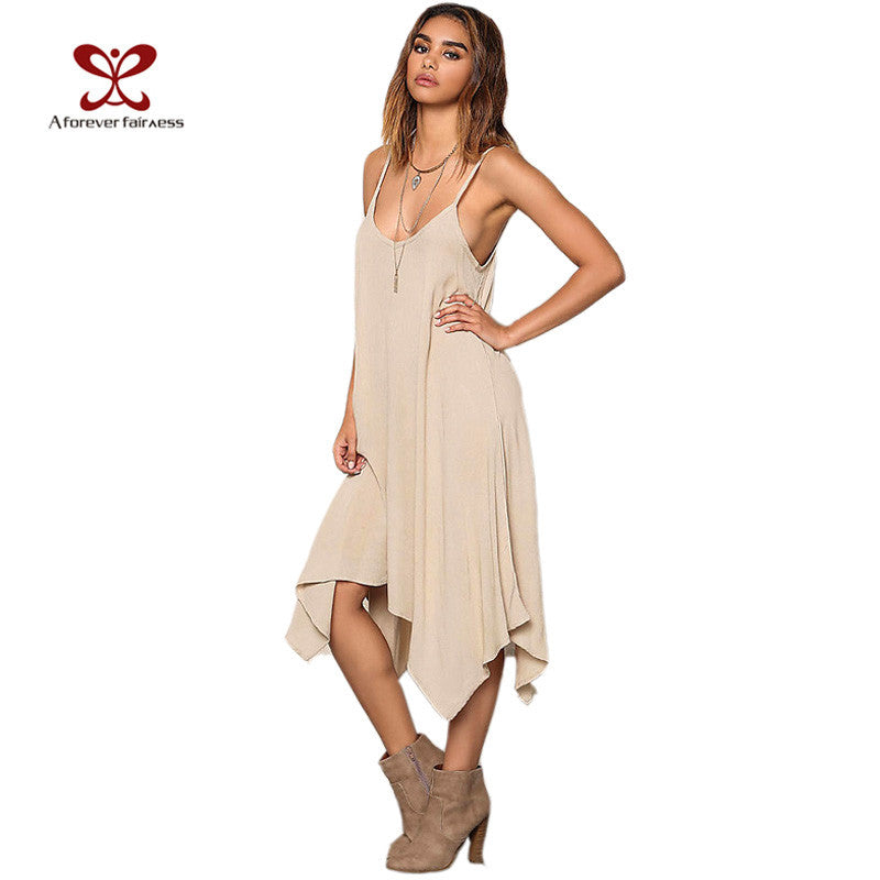 A Forever Summer Dress 20I7 Women Casual Loose Asymmetrical Vestidos Solid Spaghetti Strap Sexy Backless Long Beach Dress 1147 - Monika's Dresses