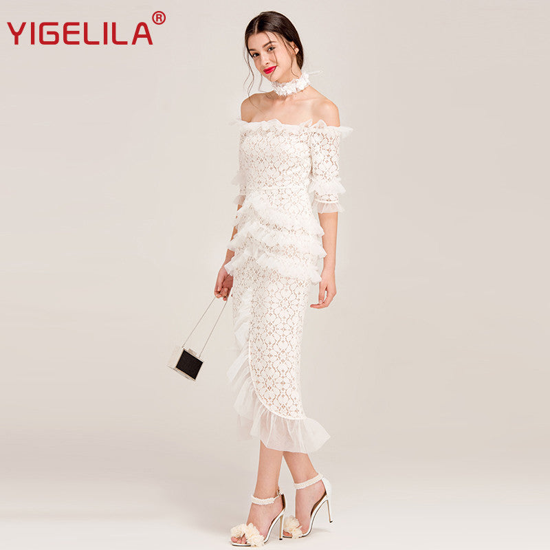 e322ad46d2c0 YIGELILA Brand 62250 Women Sexy Off Shoulder Lace Long Dress Latest Fashion Slash  Neck Half Sleeve