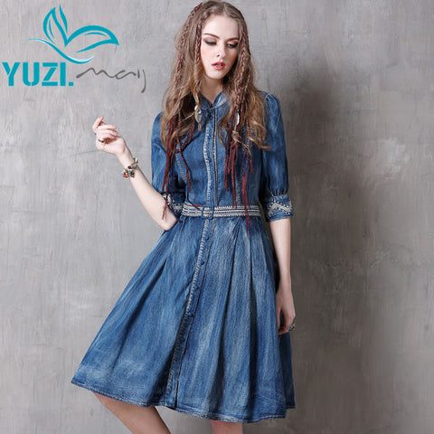 Summer Women Dresses 2017 Denim Dress Vintage New Floral Embroidery Half Sleeve Single Breasted Belted Vestidos A8129 Vestido - Monika's Dresses