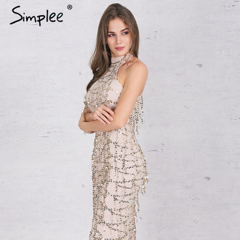 Simplee Apparel Elegant sequin tassel maxi mermaid dress Women evening party summer dress 2016 sexy mesh long dress vestidos - Monika's Dresses