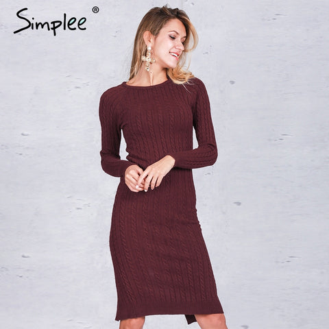 Simplee Elegant split knitted bodycon dress women Black long sleeve sexy party dresses Autumn winter warm midi dresses vestidos - Monika's Dresses