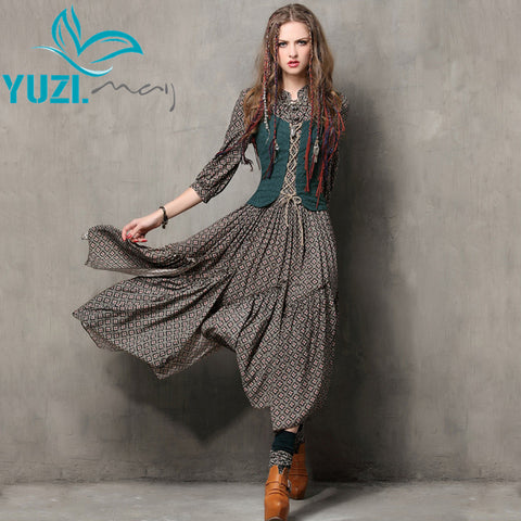 Summer Style Women Dress 2017 Yuzi.may Vintage Tunic Cotton Combo Dresses Mandarin Collar Three Quarter Sleeve Maxi Vestido 6526 - Monika's Dresses