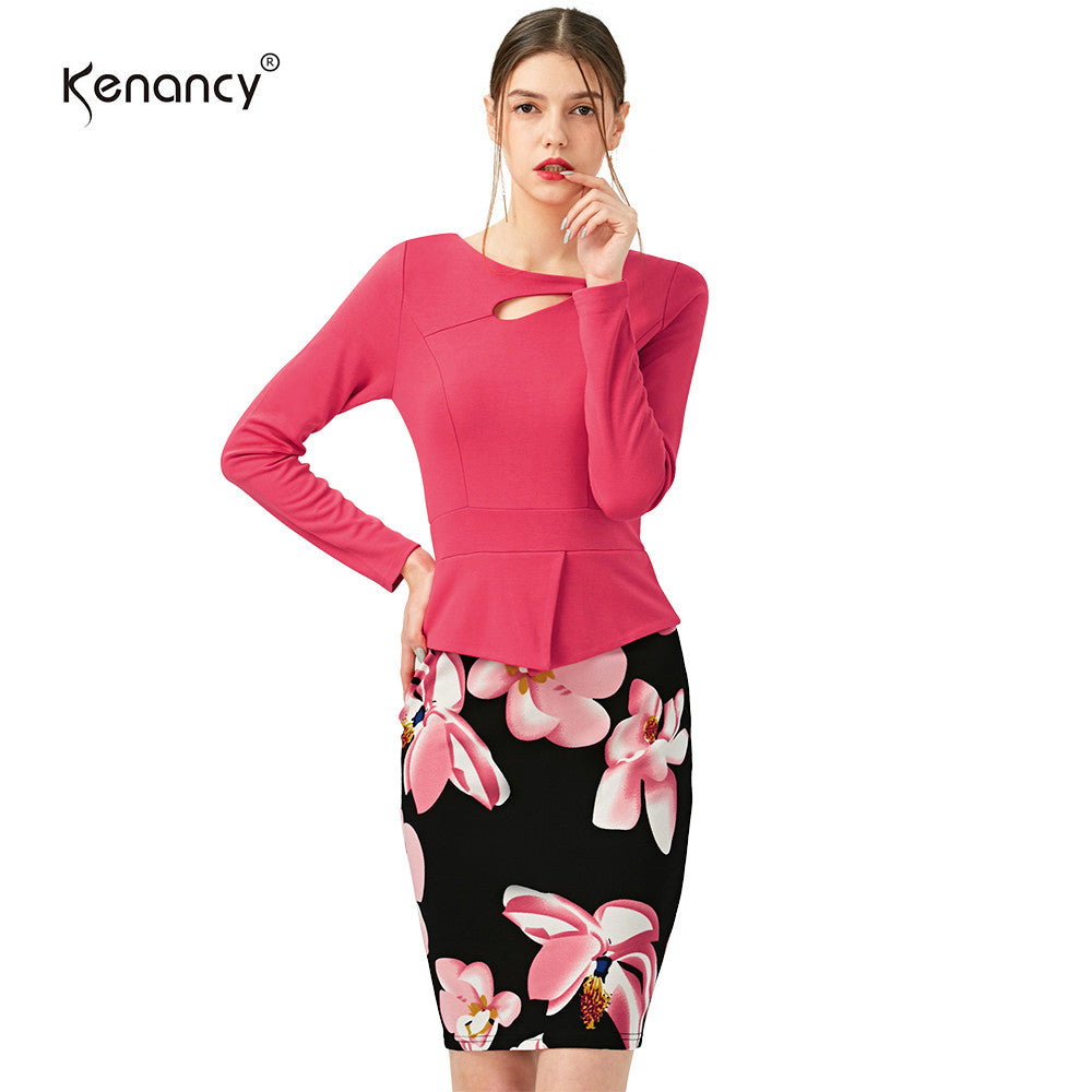 S-5XL Women's Full Sleeve  Floral Print Elegant Autumn Winter Solid Patchwork Button Casual Work Bodycon Plus Size office Dress - Monika's Dresses