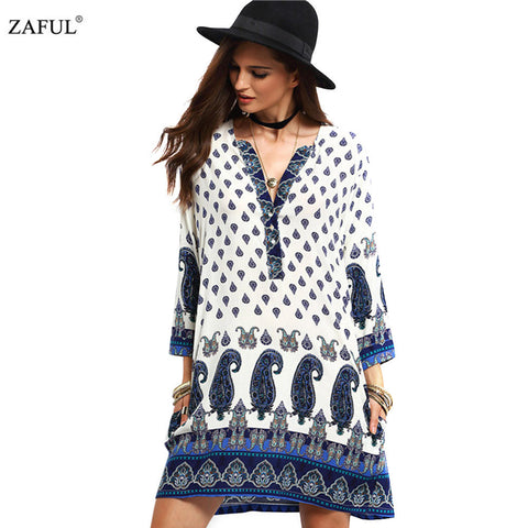 ZAFUL 2017 New Spring Women Vintage Dress V-neck Print Long Sleeve dress Loose Casual dress Mini Ethnic Dress Feminino Vestidos - Monika's Dresses
