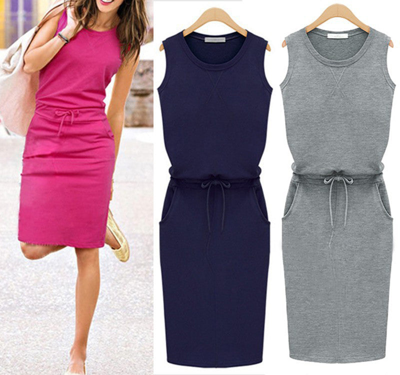 2017 Summer Dress Fashion Women Sleeveless Cotton Slim Pockets With Belt Pencil Dresses Casual Female sexy Dress Vestido J2218 - Monika's Dresses