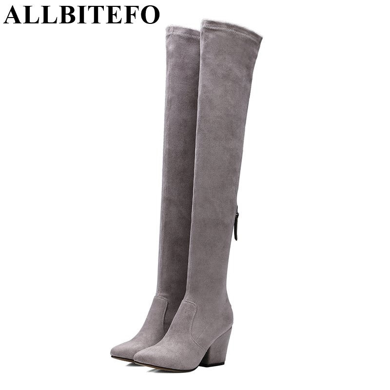 ALLBITEFO new spring autumn pointed toe thick heel women's boots