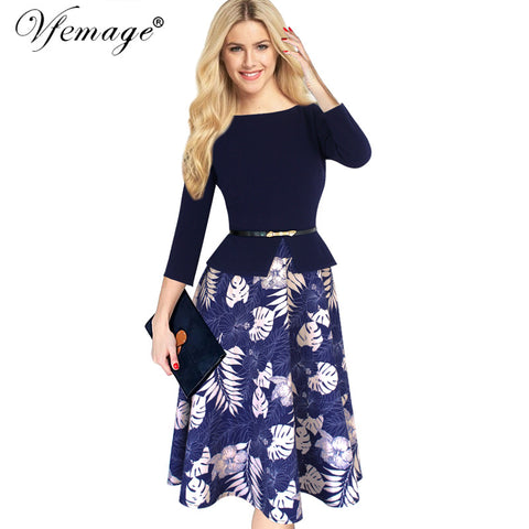 Vfemage Womens Elegant Vintage Slim Tunic Belted 2017 Spring Summer Casual Wear To Work Office Bodycon A-line Skater Dress 4180 - Monika's Dresses