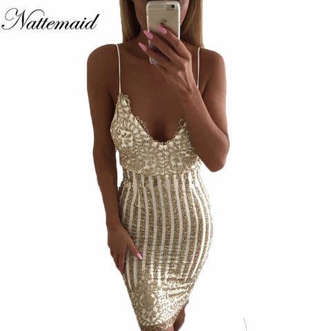 Sexy Party Night sequin summer dress 2016 Women V neck elegent vintage dresses Shinning Gold sequined Flower Lace Mesh vestidos - Monika's Dresses