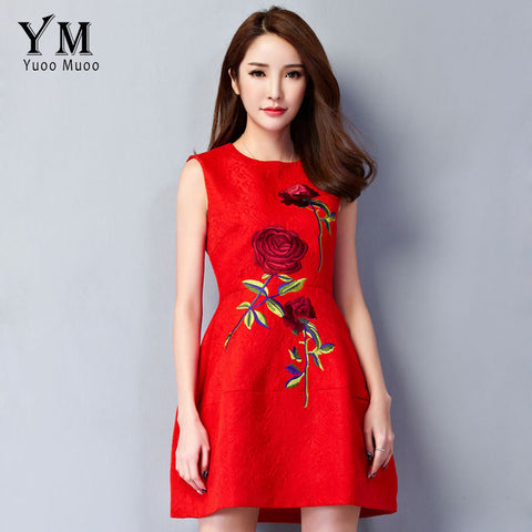 YuooMuoo New Women Dress European Style Elegant Rose Embroidery Dress A-line Short Party Dresses Red Dress for Women - Monika's Dresses