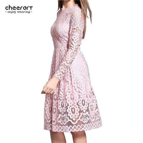 Sale! High Quality Women Bohemian White Lace Autumn Crochet Casual Long Sleeve Plus Size Pink/White/Black/Red Dress Clothing - Monika's Dresses