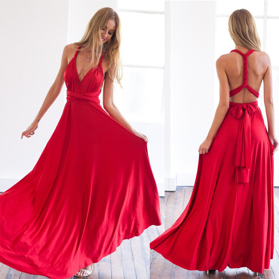 2017 Summer women multi way dress beautiful red maxi dress sexy V-neck wrap around design robe longue sleeveless bandage dress - Monika's Dresses