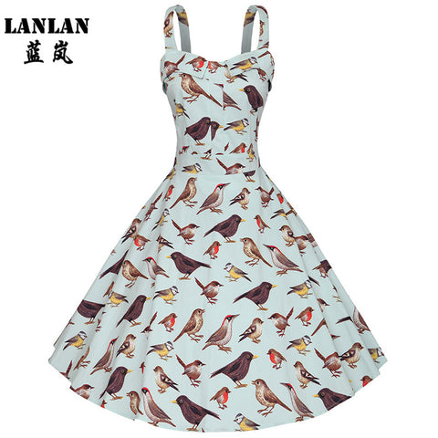 LANLAN XS-4XL Bird Print Bis Swing  Plus Size Summer Dress Fashion Spaghetti Strap Midi Dress Audrey Hepburn Women Retro Dresses - Monika's Dresses
