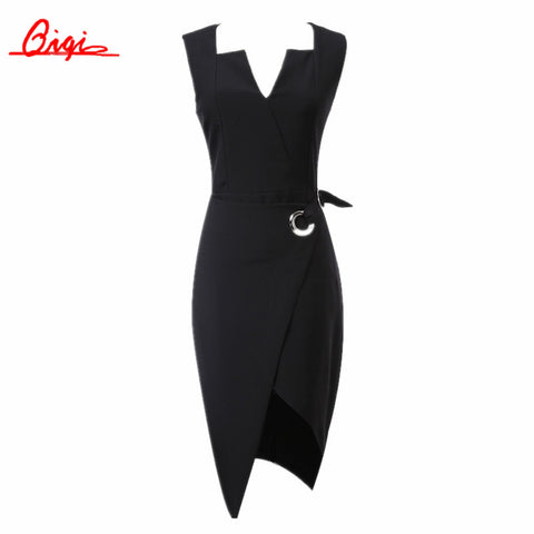 Qiqi Summer Elegant Women Business Dress V-neck Sexy Split black OL Office Work Tunic Bodycon Sheath Casual Pencil Dresses - Monika's Dresses