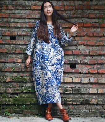 Autumn Dress Long Sleeve Casual Women Dress Female Linen Cotton Full Dress Loose Waist O Neck Floral Print Maxi Dress Vestido - Monika's Dresses