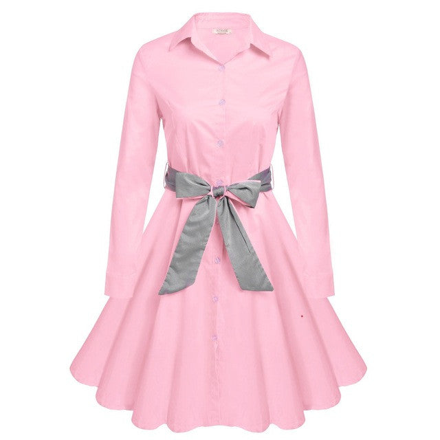 ACEVOG S - 2XL Women Dress Retro Vintage Turn Down Collar Long Sleeve Autumn Elegant Button Down Swing Shirt Dress With Belt - Monika's Dresses
