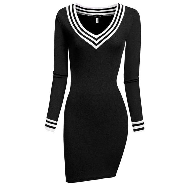 ACEVOG Winter Autumn Women V-neck Long Sleeve Pencil Dress Bodycon Knitting Package Hip Patchwork Slim Mini Party Dress 10 Color - Monika's Dresses