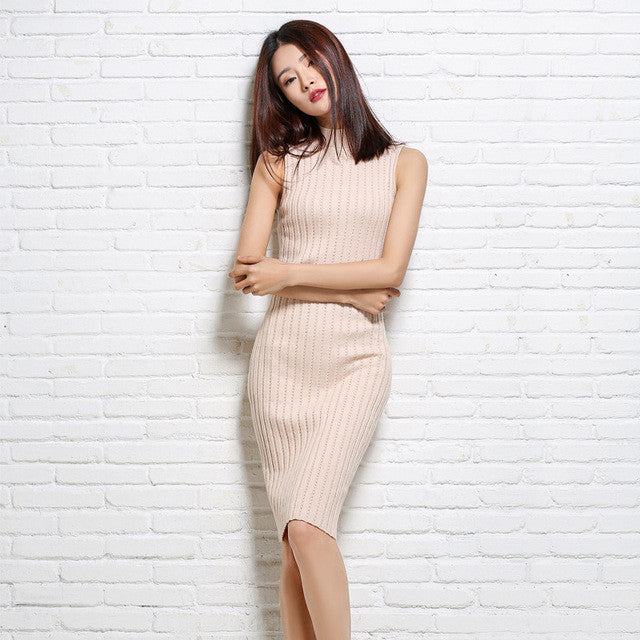 adohon 2016 womens winter Cashmere dresses and auntmun women knitted Spaghetti Strap High Quality Warm Female thickening Vest - Monika's Dresses