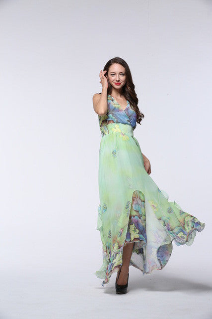 2017 Womens Summer Elegant Beach Chiffon Clothing Ladies Bohemian Print Maxi Long Dress Plus Size 6XL 7XL Vestidos 9020 - Monika's Dresses
