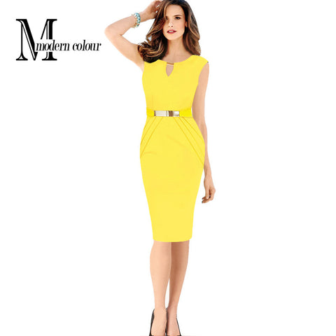 Women Summer Dress 2017 New Fashion Hollow Out Sleeveless Pencil Dress Knee Length Women Casual Dresses Yellow Red Blue Black - Monika's Dresses